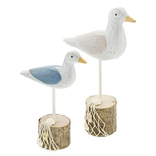 2er Set Deko Möwen aus Holz auf Sockel, mit Fischernetz und Muscheln