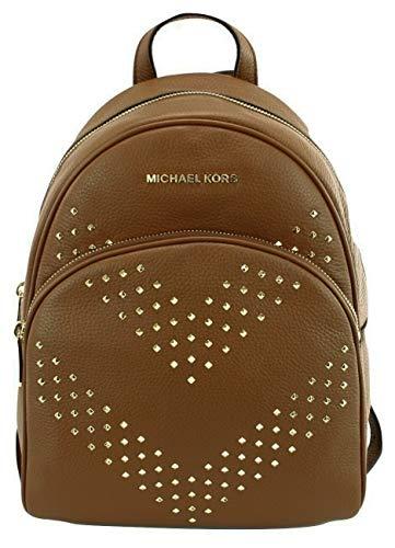 Michael Kors Abbey - Mochila de piel con tachuelas de chevrón, color Marrón, talla Medium: 26 cm Width x 31 cm Height x 13.5 cm Depth