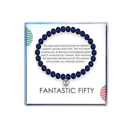 SOLINFOR 50th Birthday Gifts for Women - Lapis Lazuli Beads Bracelet - 50 Years Old Jewelry Gift Idea for Her