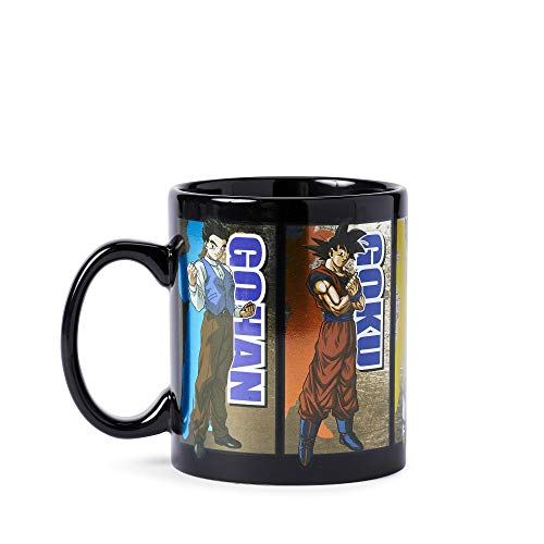 Dragon Ball Super Saiyan Goku, Vegeta, Gohan, Beerus and Whis Coffee Mug [BLACK Based 16oz] Ceramic Anime Coffee Mug, DBS/DBZ Tea/Coffee Mug (OFFICIALLY LICENSED), By Just Funky