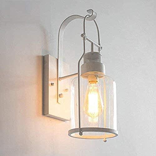 Lámpara de pared de metal de estilo vintage de vidrio de vidrio de vidrio de pared industrial 17.32'H antiguo luz de pared en acabado negro (Color : White)