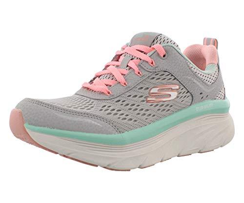 Skechers Women's DLUX Walker-Infinite Motion Sneaker, Grey/Coral, 8.5 M US