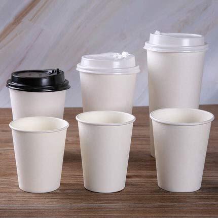 PPuujia Tazas de papel blanco con tapa, taza de café desechable, taza de té para el hogar, oficina, accesorios para beber suministros de fiesta (color 420 ml sin tapa, número de piezas: 100 unidades)