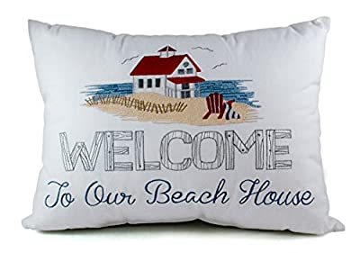 Welcome to Our Beach House White Decorative Throw Pillow
