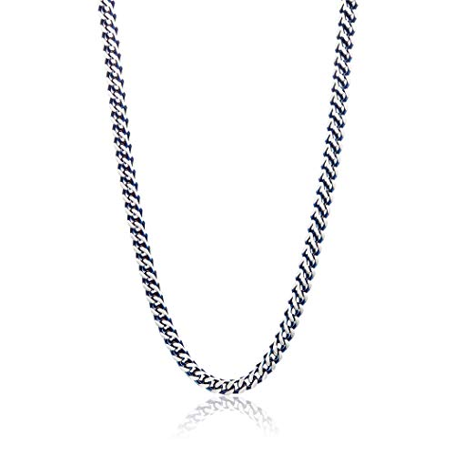 West Coast Jewelry | Crucible Blue Plated Matte Stainless Steel Franco Square Box Chain Necklace (6mm) - 24 inches