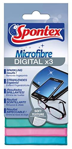 Spontex Microfibre Digital, 3er Pack Mikrofasertücher, ideal für Brillengläser, Touchscreens und Bildschirme, 15 x 15 cm (3 x 3 Stück)