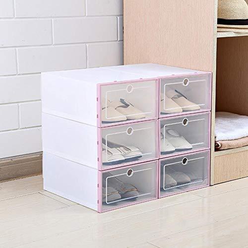Caja de almacenamiento para zapatos, 3 unidades engrosadas y plegables, cajas de almacenamiento apilables, de plástico transparente para zapatos, zapatero, soporte para zapatos (color: rosa)