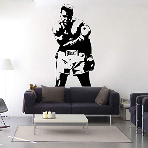 HNXCWR123 Muhammad Ali Sport Kids Decal Boxing Waterproof Wall Stickers Mural Poster Vinyl Cassius Clay Boxing Gift Room Decorative 42x81cm 622 black