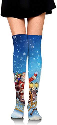 NCH UWDF Neujahr Weihnachten Zeichnung von Hirsch Schlitten von Santa Claus Frauen Mädchen Oberschenkel hohe Socken über dem Knie Lange Socken