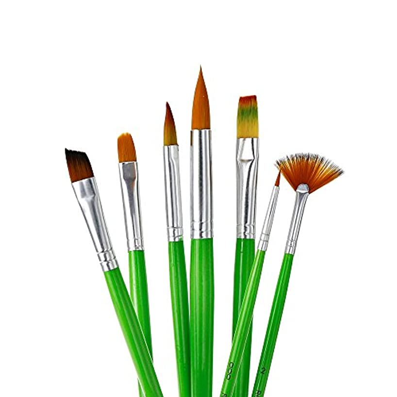 YOUSHARES 7pcs Art Paint Brush Set for Watercolor, Oil, Acrylic Paint/Craft, Nail, Face Painting (Green)