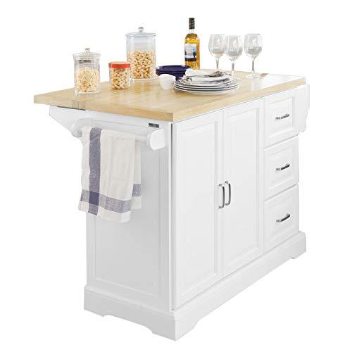 SoBuy FKW41-WN Luxus-Küchenwagen Küchenschrank Sideboard mit erweiterbarer Arbeitsfläche BHT ca.:130x91x46(+25) cm