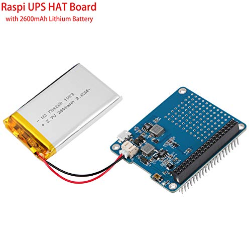 MakerHawk Raspberry Pi Batterie-Pack, Raspi UPS HAT Board (Raspberry Pi-Batterie) mit 4 LED Power-Indicator und 2600mAh Lithium-Batterie für Raspberry Pi 3B + / 2B + Modul B