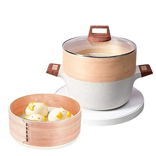 QTQHOME Grande Cerámica Conjunto De Vapor,Antiadherente Recubrimiento De Granito Cocotte Olla para Sopa Cazuela con Mango Aislado Cesta De Vapor De Bambú para Verduras Carne-Gris 20x15cm(8x6inch)