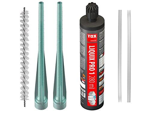 TOX 84100081 Set 1 x Verbundmörtel Liquix Pro 1 styrolfrei 280 ml 2x Statikmischer-Verlängerung Liquix Longa 200 1x Reinigungszylinderbürste 2x Statikmischer Liquix Mix 200