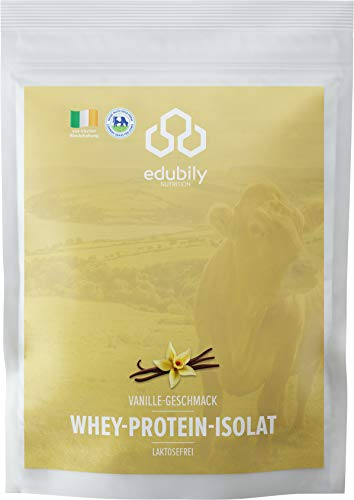 edubily® Whey Protein Isolat aus irischer Weidehaltung • Sehr gut lösliches Eiweißpulver ohne Kohlenhydrate und Zucker • Mit leckeren Geschmacksrichtungen wie Schokolade, Vanille oder Mango-Lassi
