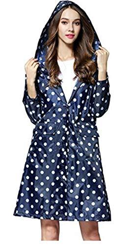 Damen Regenmantel mit Kapuze umweltfreundlich wasserdichtes Polyester Dots Punkte Regenjacke Regenponcho Jacke (Blau)