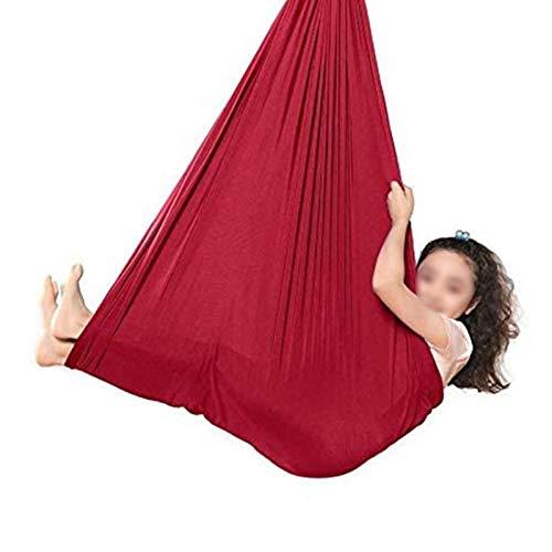YXYH Swing De Yoga Colgante Asiento Ajustable Aéreo Volando Yoga Hamaca Hamaca Sensorial For Niños O Adultos Terapia Autismo Cuerda Árbol (Color : Red, Size : 100x280cm/39x110in)