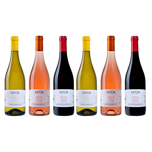 Box Misto Vini Toscana - Bianco Rosato e Rosso - Linea Sator - 6 Bottiglie 0,75 L - Idea Regalo
