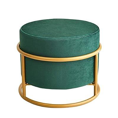 Small Velvet Ottoman Foot Rest Pouf Ottoman Stool Seat Round Ottoman Modern Decorative Tufted Fabric Stools (Green)