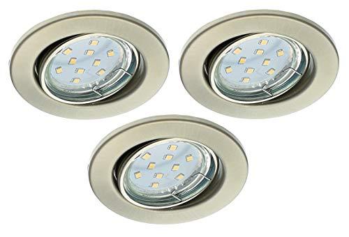 Trango 3er Set LED Einbaustrahler In Rund Nickel matt TG6729-032B incl. 3x 3 Watt GU10 LED Leuchtmittel 3000K warmweiß, Einbauleuchten, Deckenspots, Einbauspots, Deckenleuchte