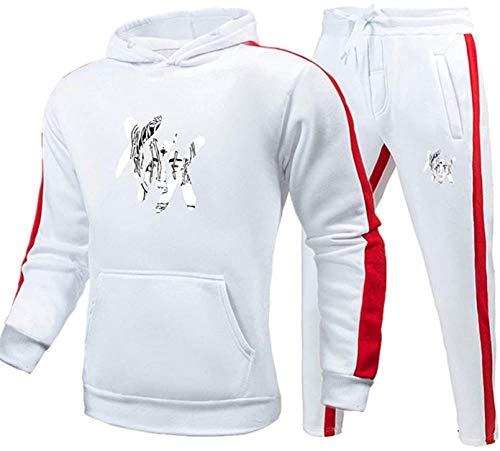2pcs / Set NewsportSwear Traje Memorial Rapper XXX Hoodie PulloverEl Mejor Recuerdo (Color : White, Size : L)
