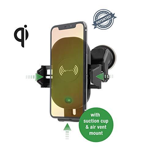 4smarts Induktive universal Schnellladestation 'VoltBeam Sensor 2' für Auto/PKW Amaturenbrett, Windschutzscheibe, Lüftungsgitter mit 15 Watt