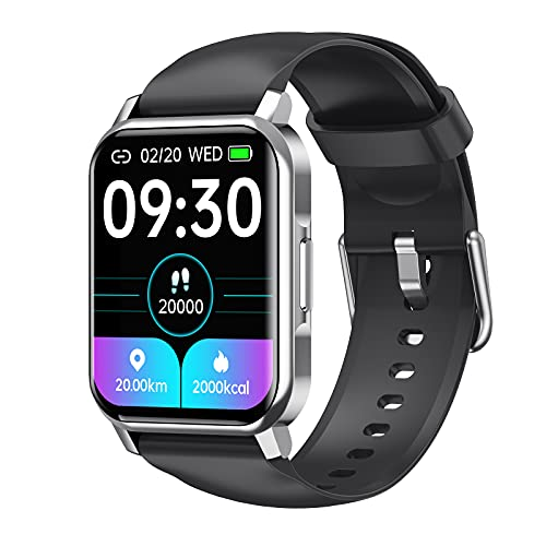 QFSLR Smartwatch Reloj Deportivo con Monitor De Frecuencia Cardíaca Monitor De Presión Arterial Monitoreo De Oxígeno En Sangre Monitor De Sueño para Hombres Y Mujeres,Negro,largre