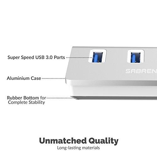 Sabrent USB HUB - Premium 4-Port USB 3.0 Silber Aluminum Hub (76cm Kabel) für iMac, MacBook, MacBook Pro, MacBook Air, Mac Mini oder einem beliebigen PC [Silber] (HB-MAC3)