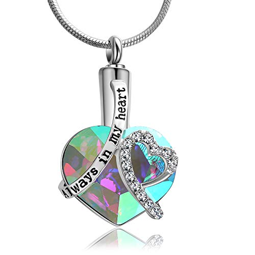 Eternally Loved Women Girls Always In My Heart Memorial Urns Cremation Pendant Necklace Jewelry