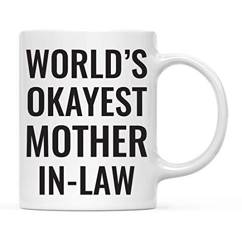 Tazas Familia Graciosa 11oz. Regalo de la mordaza de la taza de café, suegra de Okat del mundo, para el regalo de cumpleaños chistoso de la novedad sarcástica única