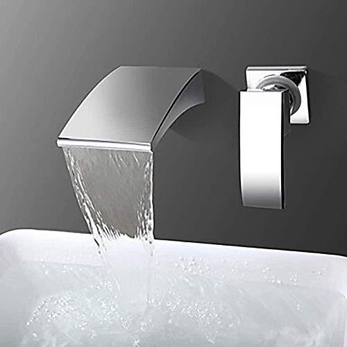 Grifo de lavabo de baño, grifo de cascada montado en la pared, lavabo mixto de agua fría y caliente, grifo de bañera oculto