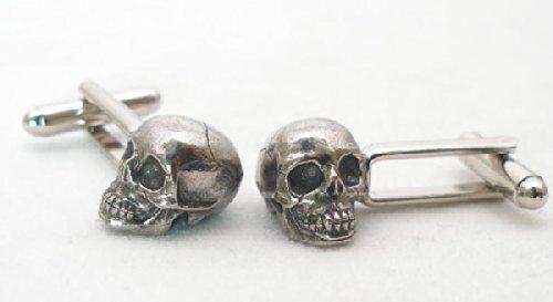 Boutons de Manchette Crâne Humain avec Boîte à Cadeau