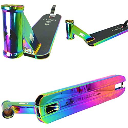 Chilli Pro Scooter Reaper Reloaded Stunt Scooter - Tabla de repuesto para patinete de acrobacias (50 x 12,5 cm, 120 mm, arcoíris Neochrome + pegatina Fantic26)