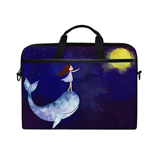 CPYang Laptop Bag Starry Sky Whale Moon Galaxy Computer Laptop Case Notebook Laptop Shoulder Messenger Bag Sleeve for Boys Girls Women Men