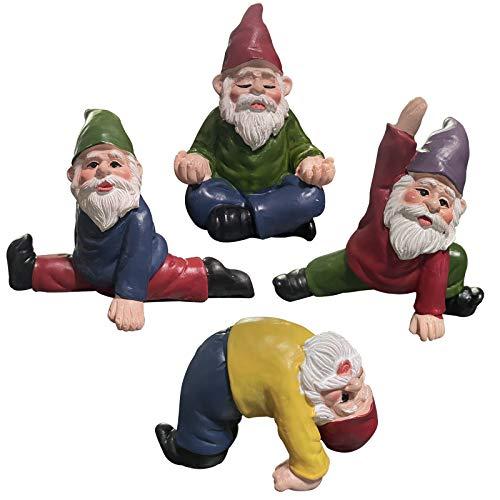 MUAMAX Miniatur Gartenzwerge Set von 3 Feengärten Yoga Zwerg Figuren Lustige Feengarten Zubehör Zwerg Garten Deko Ornamente