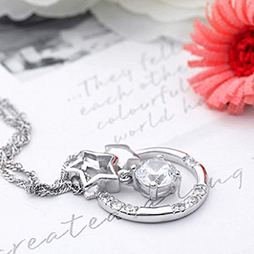 Necklaces Jewelry, Fashion Elegant Retro Silver Plated Round Cubic Zirconia Pendant Hollo Necklace Chain Necklace Gift (Silver)