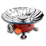 Stepping Ultra-light Small Volume Round Folding Camping Butane Gas Stove Burner with Storage