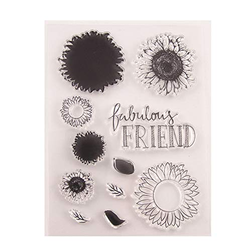 Fabulous Friends DIY Sunflowers Leaves Stamp Rubber Clear Stamp/Seal Scrapbook/Photo Album Decorative Card Making Clear Stamps