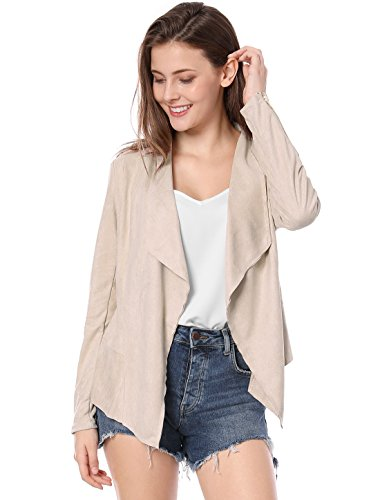 Allegra K Women's Suede Jacket Draped Open Front Outwear Lightweight Cardigan Large Light Pink