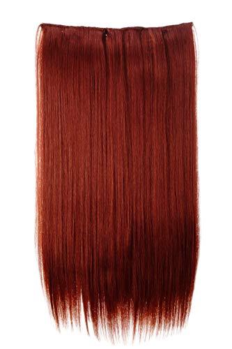 WIG ME UP ® - Extensión de pelo amplia espesa lisa de 5 clips color rojo cobrizo 60 cm L30172-350