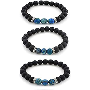 Nicete 3 Pcs Chakras Stretch Bracelet Healing Gemstone Oil Diffuser Bracelet Beaded Crystal Bracelet Religious Lava Stone Bracelet Christmas Birthday Gifts for Men Girlfriend (Blue)