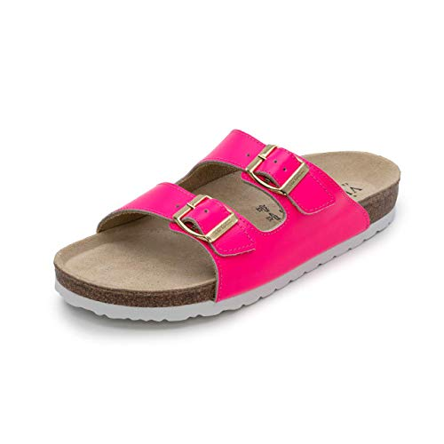 VITAFORM® Damen Pantolette Sandale Echt Leder Mit Naturkork – Bequemer Hausschuh Mit Luftpolsterfußbett (neonpink, Numeric_38)
