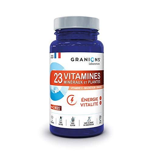 Granions 23 Vitamins, Minerals, Energy Plants, Vitamins A B C D3 E + Oligo Elements Zinc Magnesium Selenium + Ginseng, Optimised Assimilation, 90 Tablets, Eco 3 Months Format
