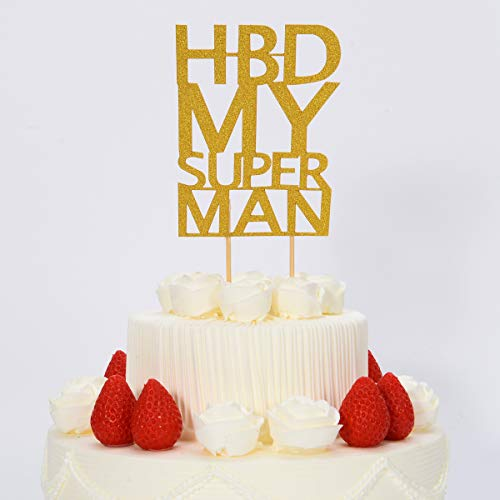 Birthday Cake Topper -HBD My Super Man,Birthday or Anniversary Party Decoration Ideas,Happy Birthday Cake Toppers