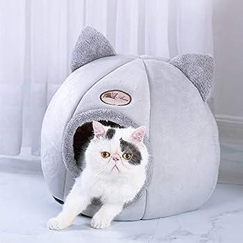 Saingace Lit de Chat Chien,Semi Fermé Pliable Nid d'animal Chaud Chat Maison La Mode Lit de Petit Animaux Automne et Hiver