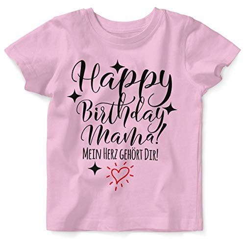 Mikalino Baby/Kinder T-Shirt mit Spruch für Jungen Mädchen Unisex Kurzarm Happy Birthday Mama! Mein Herz gehört Dir! | handbedruckt in Deutschland | Handmade with Love, Farbe:rosa, Grösse:92/98