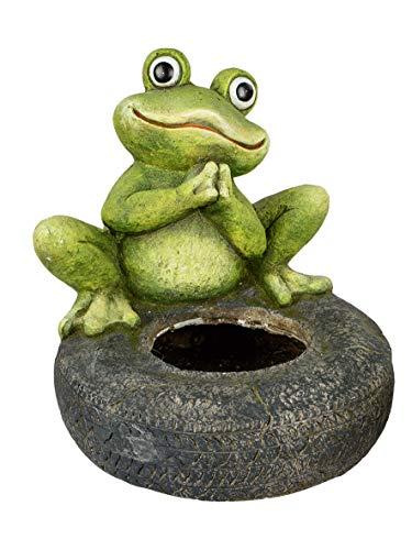 N / A Pflanzgefäß Frosch mit Reifen 30x28 cm Pflanztopf Gartendeko Blumentopf