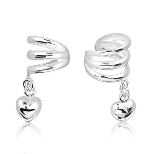 WithLoveSilver - Pendientes de plata de ley 925 con 3 líneas, diseño de corazón