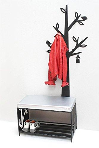 DanDiBo Schoenenrek met zitvlak, wandgarderobe set, metaal, zwart, garderobe