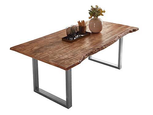 SAM Esstisch Dora 180 x 90 cm, Mangoholz massiv, lackiert & naturfarben, Baumkantentisch mit Metallgestell in Silber, echte Baumkante, 26 mm